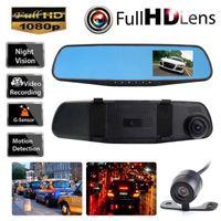HD 1080 P 4.3 '' Çift Lens Video Kaydedici Dash kamera Dikiz Aynası Araba DVR Kamera Ücretsiz Kargo