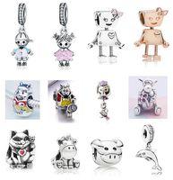 FITS Pandora Sterling 실버 팔찌 소년 소녀 벨라 로봇 주전자 마우스 곰 비즈 매력 유럽 뱀 매력 체인 패션 DIY 쥬얼리