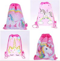 Unicorn Drawstring Bag for Girls Travel Storage Package Cartone animato scuola zaini bambini festa di compleanno favori 5 stili regali spedizione gratuita