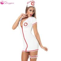 2018 DangYan más el tamaño sexy traje de enfermera de peluche con cinturón de pierna SM Cosplay sexy disfraces vestido erótico adultos lencería sexy
