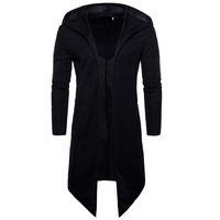 Siyah Erkek Pelerin Uzun Trençkot Erkekler Hırka Rüzgarlık Erkek Palto Trençkot Ince Kapşonlu Ceket Erkek Artı Boyutu 6XL