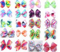 Ragazze 12 cm Gradiente arcobaleno Geometric Hair clip bowknot centro con rhinestone bow barrettes tornante copricapo Bella Huilin AW28