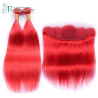 Peruvian Red Color 2 3 Bundles With Lace Frontal Brazilian 1...