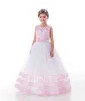 Lovely White Pink Blue Green Applique Flower Girl Dresses Gi...