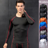 New Men manga comprida T-shirt Baselayer Arrefecer Quick Dry Compression Musculação apertado aptidão que funciona Golf Top DK7711KSG