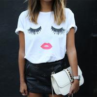 Moda Sexo LIP cílios impressão t-shirts para mulheres topos Plus Size off que cultura negra partes superiores engraçadas de impressão de manga curta camiseta