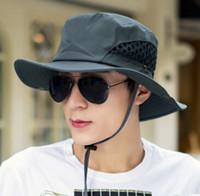 للجنسين واسعة بريم boonie كاب sunblock طوي الصيد التنزه الصيد في دلو القبعات أحد القبعات الصياد واقية 10 ألوان