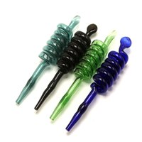 7 Cores espiral de vidro Filtros de Pyrex Oil Burner Dicas para tubos seco Herb Tobacc mão Grosso Pyrex queimadores de óleos para fumar