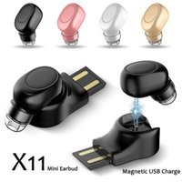 X11 Small Wireless Bluetooth Earphone USB Magnet Invisible h...