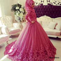 Muslimischer High Neck Langarm Lace Applikationen Abschlussballkleid Fuchsia Saudi-Arabien Muslimische Engagement-Kleider Flauschige Ballkleid Abendkleider