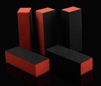 Toptan 10pcs Turuncu Siyah 4 Yolları Zımpara Zımpara İpuçları Tırnak Manikür Araçlar Tırnak Sanat Tampon Bloğu Emery Kurulu Tırnak Dosyalar GD için