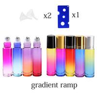 10 ml Gradient Color Grube Grube Roll na olejku Essential Puste butelek Parfume Bottles Roller Ball Travel Użyj konieczności