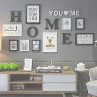 9 st / set trä fotoram bildram för vardagsrum bokstäver mönster fotoram kombination för vägg dekoration fotos