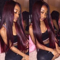 For Black Women #99J Wine Red Full Lace Human Hair Wigs Stra...