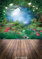 гриб сказка фотографии фон лес дерево цветок блеск луны фон джунглей партия фотофон Фотозвонки декор для фотостудии