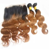 Ombre 360 Lace Frontal With Human Hair Bundles Two Tone Braz...