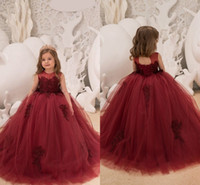 2018 Burgundy Ball Gown Tulle Flower Girls Dresses Jewel Nec...