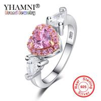 Yhamni 100% 925 Sterling Argent Ange Ailes Rose CZ Zirconia Lotissement Coeur De Mariage Bijoux Bijoux pour Femmes Cadeau Yra0226