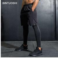 BINTUOSHI 2 шт. набор Мужские шорты для бега + колготки тренировки тренажерный зал фитнес-тренировки спортивные трусцой шорты дышащий с карманами