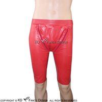Vermelho sexy látex boxer shorts cueca com bacalhau dois zíperes abertos mantes borracha boyshorts underwear calças 070