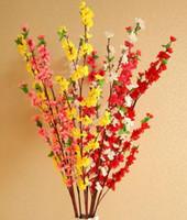 Искусственная вишня Весна слива персик цветение филиал Шелковый цветок дерево для свадьбы украшения белый красный желтый розовый 5 цвет
