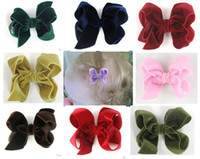 "boutique10 colors velvet ribbon hair bow, 3"" handmade ha..."
