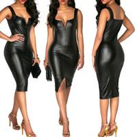 Wholesale vegan leather for sale - Vegan Leather Sleeveless Dress Lady  Cocktail Party Dresses Mini Sexy f4e532e57a323