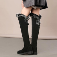 sexy plush square low heel womans over knee boots winter fur...