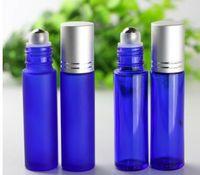 Blaue Aromatherapie ätherisches Öl Rollerflaschen Portable 10 ml glatte Glasrolle auf nachfüllbare Glasflaschen mit Metallkugel