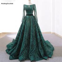 Дубай новый зеленый старинный с длинным рукавом вечерние платья 2021 a-line Secked роскошный блеск вечерние платья на реальное фото