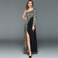 Women Autumn Elegant Patchwork Lace Long Dress Ladies Sexy O...