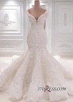 2020 Sexy Mermaid Wedding Dresses Backless V-neck Bridal Gowns Off The Shoulder BC0221