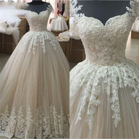 Simple Design A- Line Wedding Dresses Jewel Lace Appliques Be...
