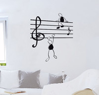 Wall Sticker Music Notes Funny Guys per Living Room Adesivi in ​​vinile Instrumen art 38 * 56 cm