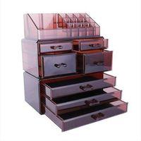 VENDITE CALDE SF-1122-3 3 pezzi / set di cosmetici in plastica rack di stoccaggio trasparente 4 piccoli 3 grandi cassetti caffè