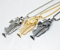 Fish bone fishing hook skeleton stainless steel pendant surf...