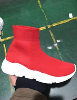 Buona qualità Red black Speed ​​Trainer Scarpa casual Uomo Donna Sock Boots con box Stivali casual a maglia stretch Race Runner Sneaker economici alti
