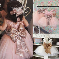 girl wedding Party Dress Lace Sequin Bow Back Kids Clothes D...