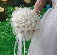 2018 أحدث باقات الزفاف مع الزهور اليدوية بيلس كريستال حجر الراين روز لوازم الزفاف العروس القابضة باقة بروش