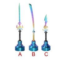 Colorido tapón de carburo de titanio Fit 22mm tazón GR2 Titanium clavo de cera Dabber herramientas de talla (espada, cuchillo) con diferente Dabber