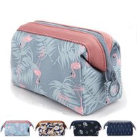 Flamingo Flower Printed Storage Bags Zipper Travel Makeup Co...