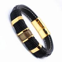 Fait à la main en cuir véritable Homme Bracelets Casual / Sportif Cool Hommes Bijoux Bracelets De Couro Pulseiras Masculinos