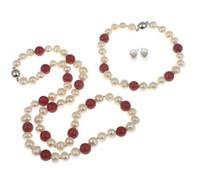 Handgjord naturlig vacker röd korall 7-8mm sötvatten odlad pärlhalsband, armband och örhängen sätta mode smycken
