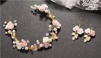 Braut Kopfschmuck Blume Perle Kristall Hochzeit Stirnbänder mit Ohrring Tiaras Frauen Mädchen Haarband Kopfschmuck Beach Party Haar Zubehör