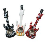 Fumer Pipes Guitare Forme Tabacco Pipes En Métal Tabac Cigarette Titulaire Shisha Narguilé Fumeurs Accessoires Assortiment Couleurs YW820
