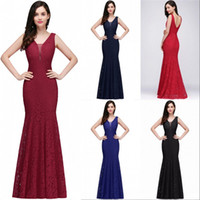 Stock V Neck Lace Mermaid Long Evening Dresses Sleeveless Fi...