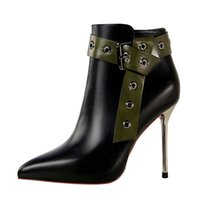 Women' s Ankle Boots High- Heeled Shoes, Zippered Shoes, ...