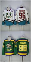 96 Charlie Conway White Green Hockey Jersey EJ Mighty Ducks ...