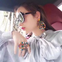 New Women Luxury Designer Dangle Earring Retro Crystal Open ...