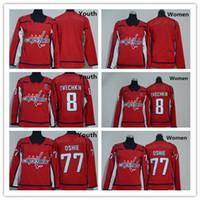 2018 Washington Capitals Młodzież Kobiety 77 T J Oshie Jerseys Hokej 8 Alex Ovechkin Uniform Dzieci Damskie Koszule Czerwony Biały, Rozmiar S-XL